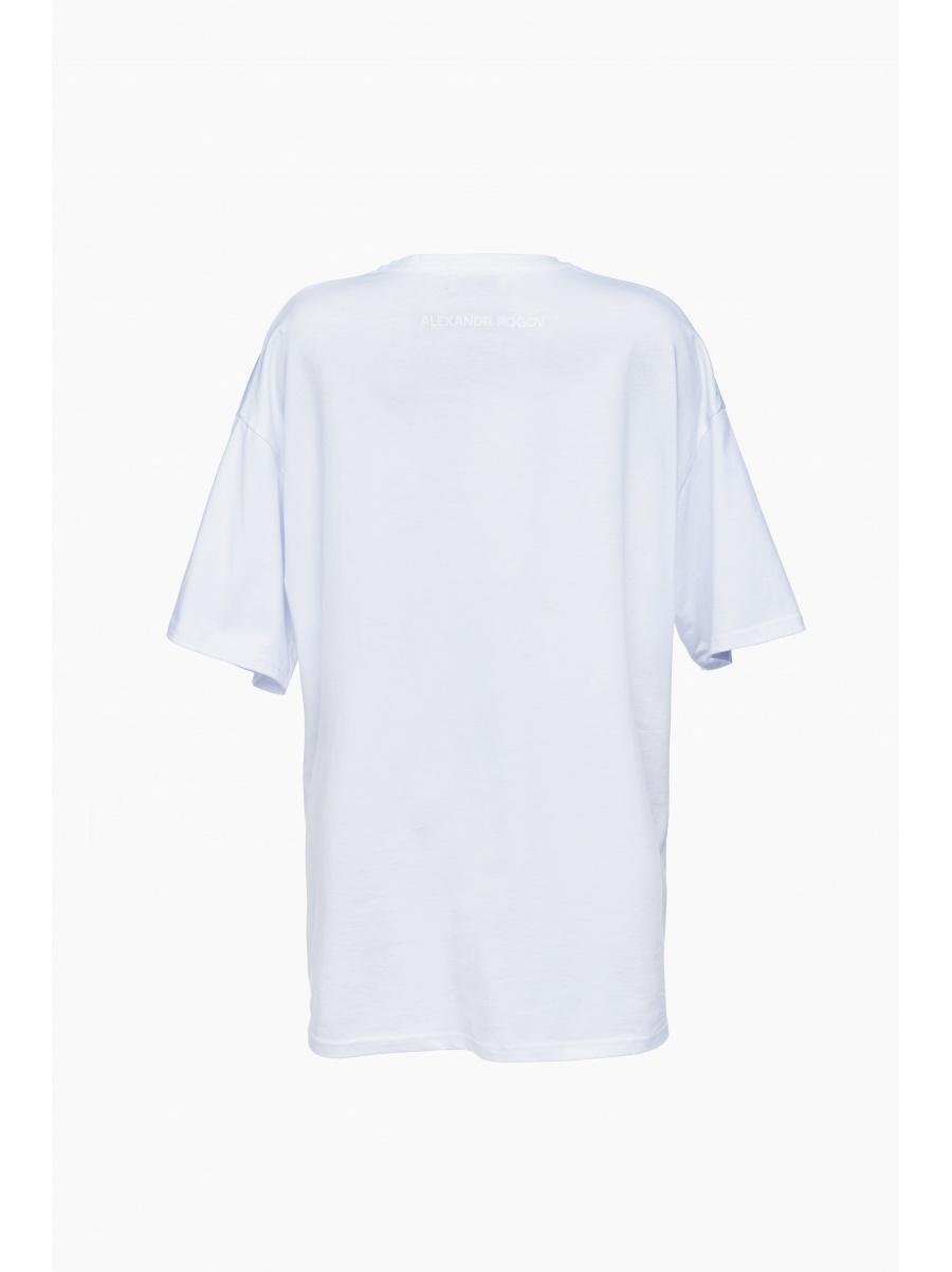 Белая футболка oversize