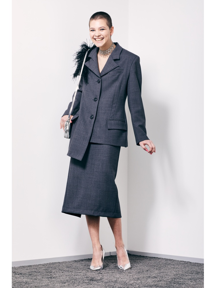 Жакет асимметричный grey