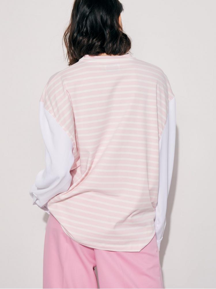Футболка pink с белым рукавом