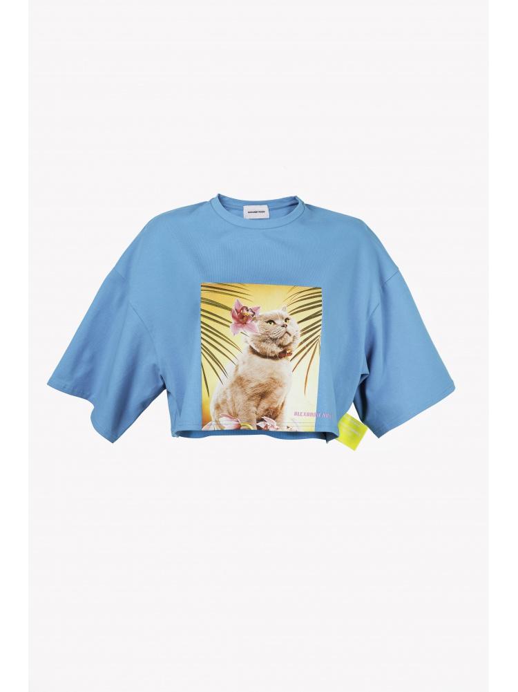 Футболка синяя короткая postcard cat