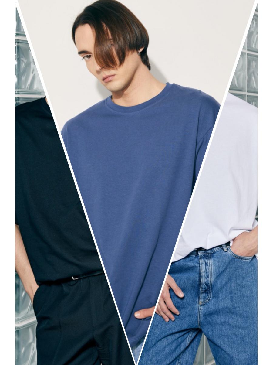Набор из трех футболок oversize/blue